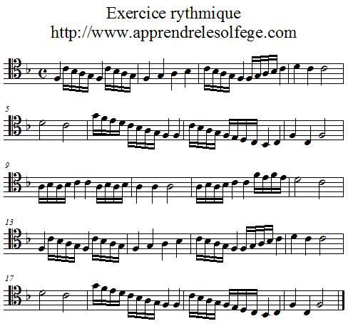 Exercice rythmique binaire 4 UT 4