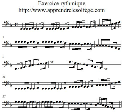 Exercice rythmique binaire 6 FA 4