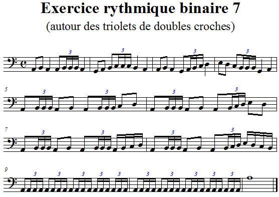 Exercice rythmique binaire 7 autour des triolets de doubles croches en clef de fa 4