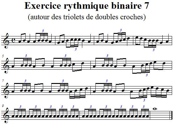 Exercice rythmique binaire 7 autour des triolets de doubles croches en clef de sol