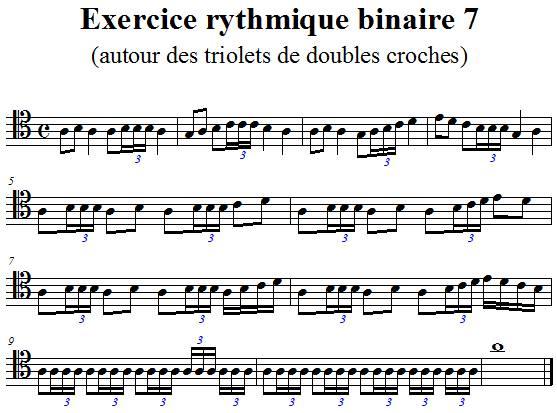 Exercice rythmique binaire 7 autour des triolets de doubles croches en clef d'ut 4