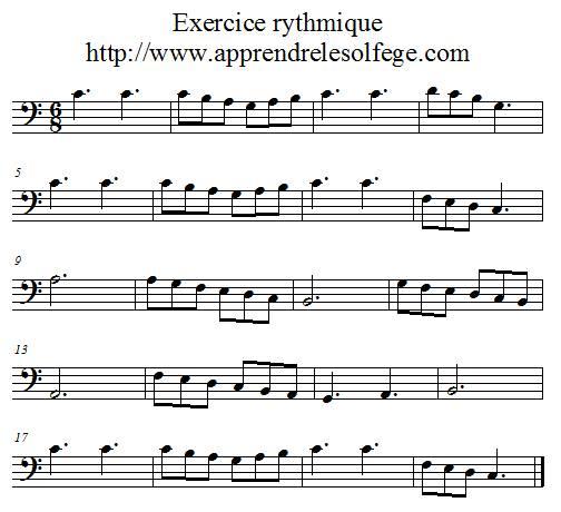 Exercice rythmique ternaire 1 clef de fa