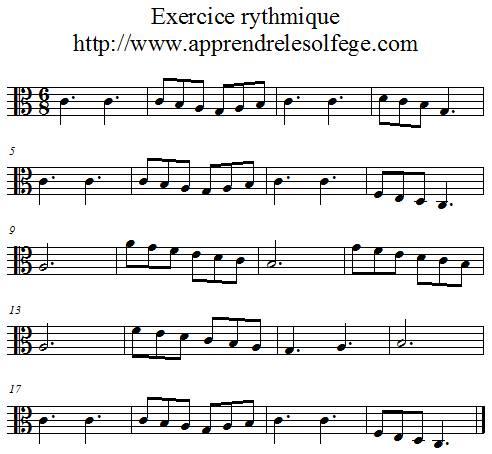 Exercice rythmique ternaire 1 ut 3