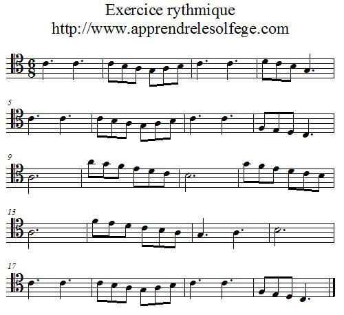 Exercice rythmique ternaire 1 ut 4