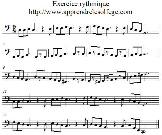 Exercice rythmique ternaire 3 clef de FA
