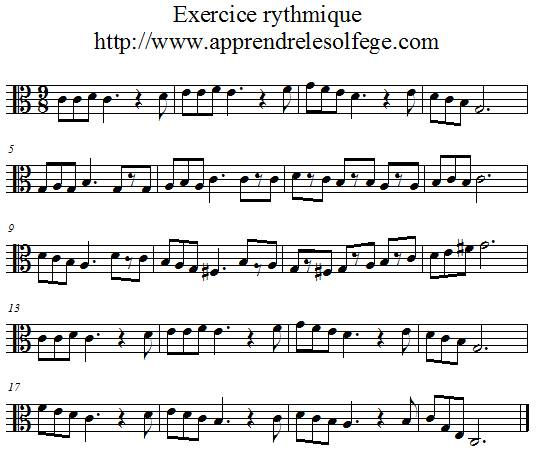 Exercice rythmique ternaire 3 ut 3