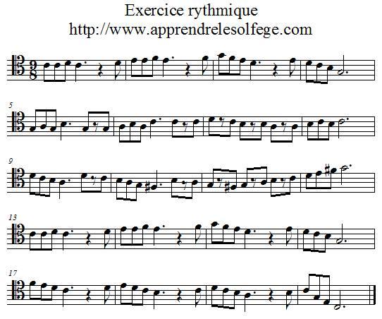 Exercice rythmique ternaire 3 ut 4