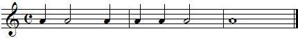 Exercices de rythme, noires blanches et rondes mélangées