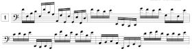 Exercices de lecture de notes en clef de FA et en doubles-croches (C2 - G4)