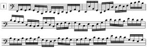 Exercices de lecture de notes en clef de FA et en doubles-croches (C2 - E4)