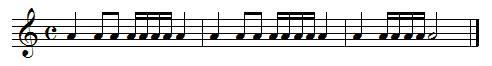Exercice de rythme, doubles croches
