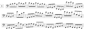 Exercices de lecture de notes en clef de FA et en croches (C2-G4)