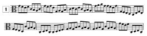 Exercice de lecture de note en clef d'UT3, en croches, avec points de repère