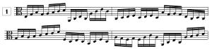 Exercice de lecture de note en clef d'UT3, en doubles-croches (de A2 à F5)
