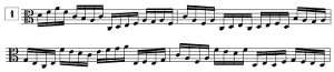 Exercice de lecture de note en clef d'UT3, en doubles-croches (de C3 à D5)