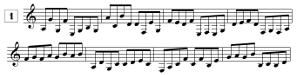 Exercices de lecture de note pour guitare en clef de SOL, en croches (de E3 à G5)