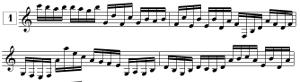 Exercices de lecture de note pour guitare en clef de SOL, en croches (de E3 à C6)