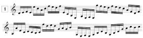 Exercices de lecture de note pour guitare en clef de SOL, en doubles croches (de E3 à G5)