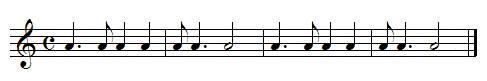 exercice rythmique, noire pointée croche