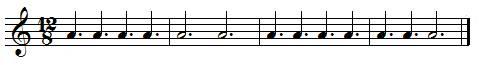 Exercice rythmique  Rondes, blanches et noires, pointées en ternaire