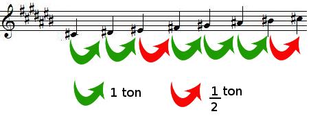 Tons et demi-tons dans la gamme de DO dièse majeur