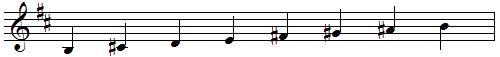 gamme de SI mineur mélodique ascendante