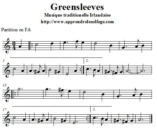 Greensleeves partition en FA