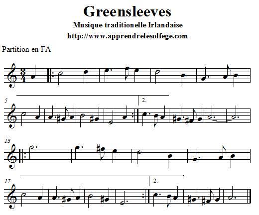 Greensleeves partition en FA