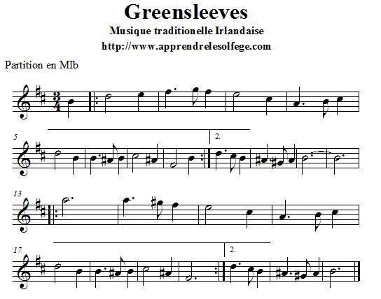 Greensleeves partition en MIb