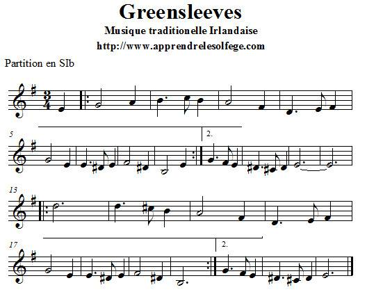 Greensleeves partition en SIb