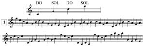 Lecture de notes en clef de SOL, en tierces, avec points de repère, en tierces