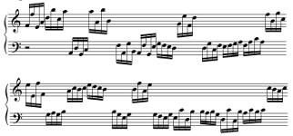 Exercices de lecture de note pour piano en doubles-croches, (de F2 à C4 pour la main gauche et de C4 à C6 pour la main droite)
