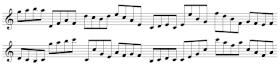 Exercices de lecture de note pour saxophone, en croches (B3C6)