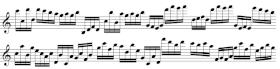 Exercices de lecture de note pour saxophone, en doubles-croches (B3F6)