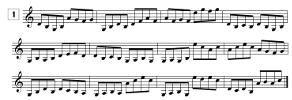Lecture de notes pour violon à imprimer avec points de repère et en croches