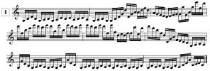 Lecture de notes pour violon à imprimer, En doubles-croches (de G3 à G6)