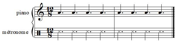 Exemple de mesure à 12/8 (au piano avec un métronome)