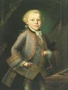 Mozart enfant, huile anonyme de 1763, probablement due à Pietro Antonio Lorenzoni