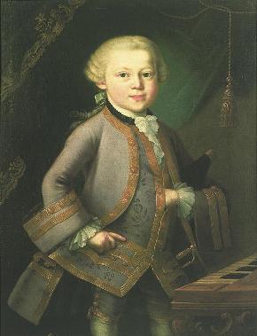 Mozart enfant, huile anonyme de 1763, probablement due à Pietro Antonio Lorenzoni.