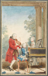 Leopold, Wolfgang au clavecin et Maria Anna (dite Nannerl) Mozart en 1764.