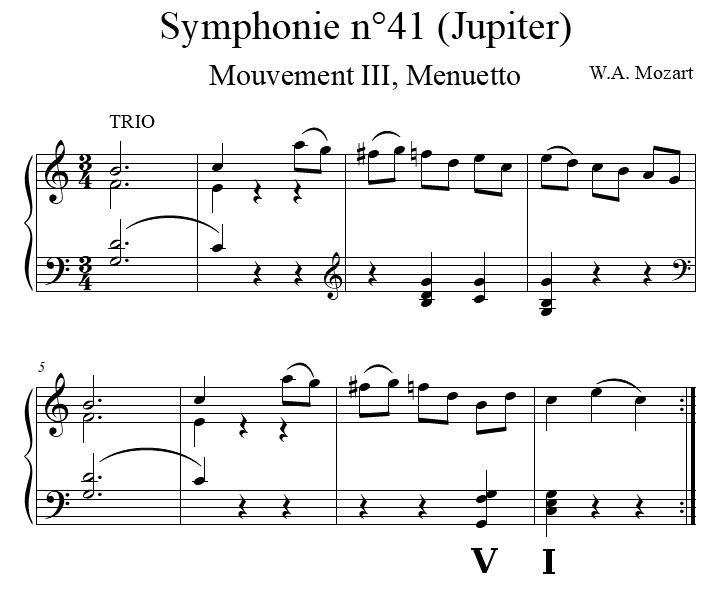 Trio du menuet de la Symphonie no 41 en ut majeur KV. 551 de Wolfgang Amadeus Mozart
