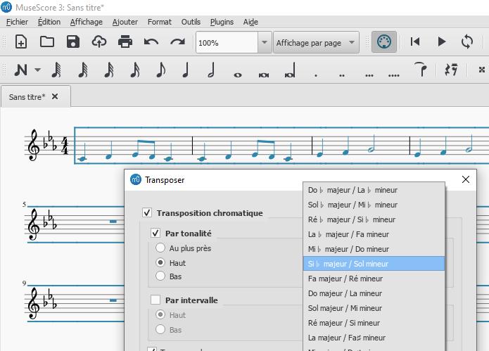 Transposer avec le logiciel Musescore une partition en UT pour un instrument en FA