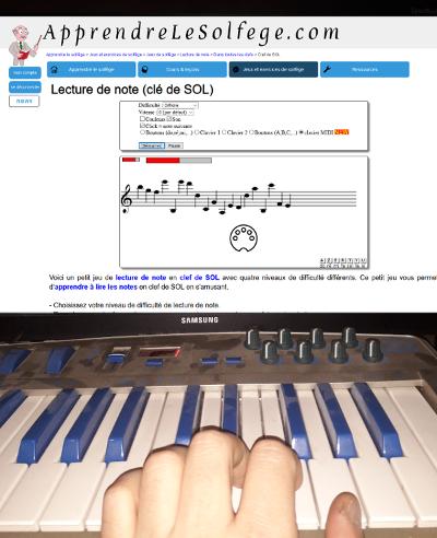 Clavier Midi et jeux du site apprendrelesolfege.com