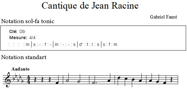 Cantique de Jean Racine de Fauré, notation sol-fa tonique