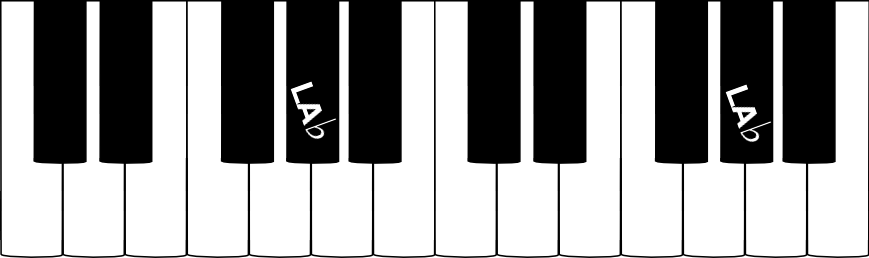 La note LA bémol sur un clavier de piano