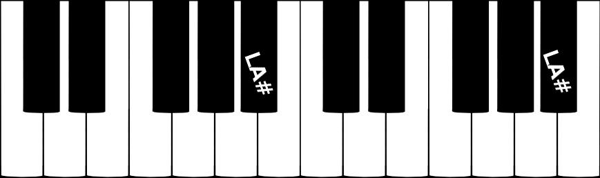 La note LA dièse sur un clavier de piano