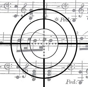 obectif, viseur d'objectif sur une partition musicale