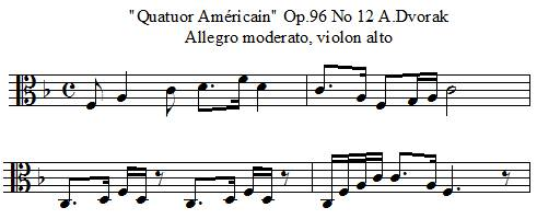 quatuor américain Opus 96 numéro 2 de A.Dvorak, mélodie du violon alto