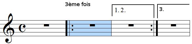 barres de reprise avec cadre 1, 2 et 3