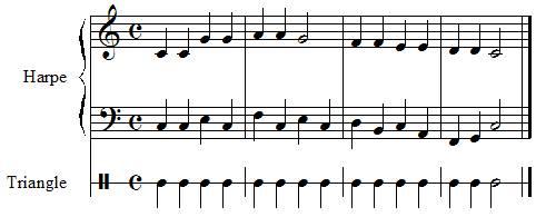 système de portée, ah vous dirais je maman, harpe et percussion